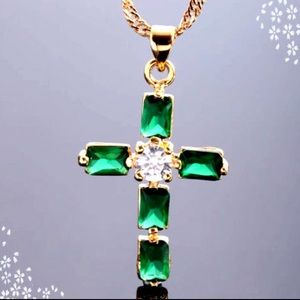 Emerald green CZ Cross necklace 18K gold plated